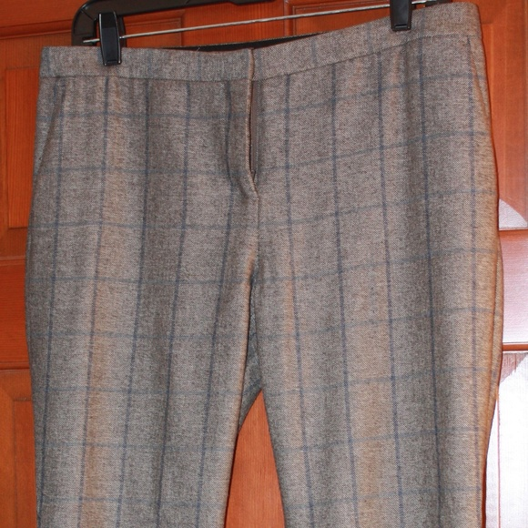 Theory Pants - Grey Dress Pants With Blue Checker Stripes